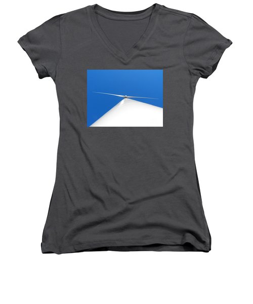Wind Turbine Blue Sky Women's V-Neck (Athletic Fit)