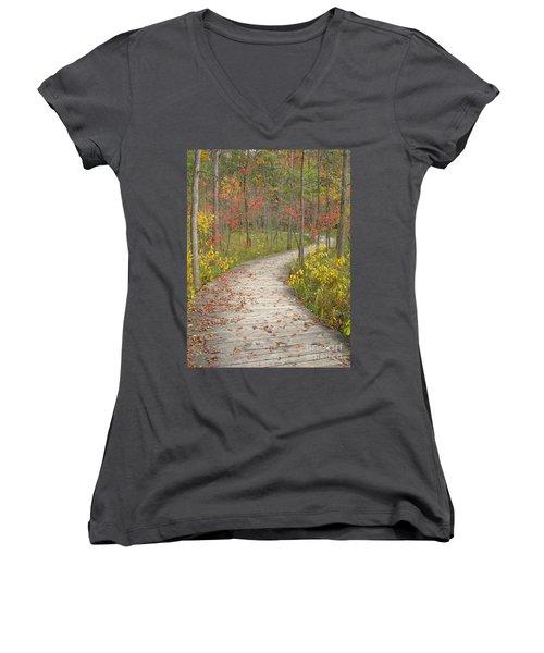 Women's V-Neck T-Shirt (Junior Cut) featuring the photograph Winding Woods Walk by Ann Horn
