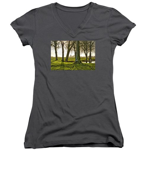 Windmill And Trees In Groningen Women's V-Neck T-Shirt