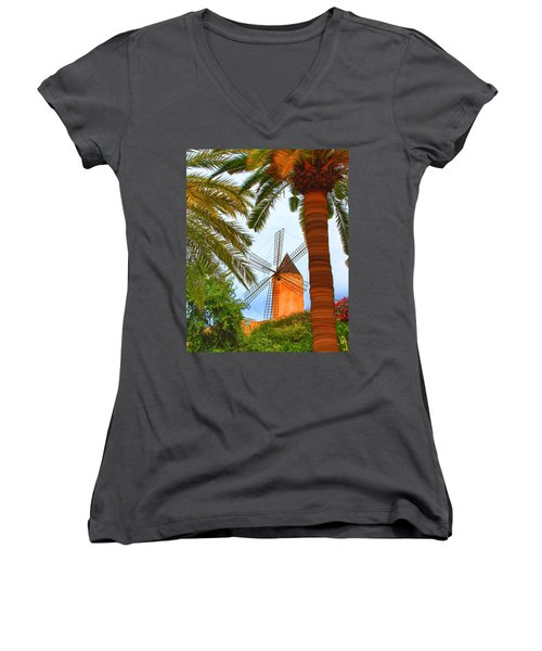 Windmill In Palma De Mallorca Women's V-Neck