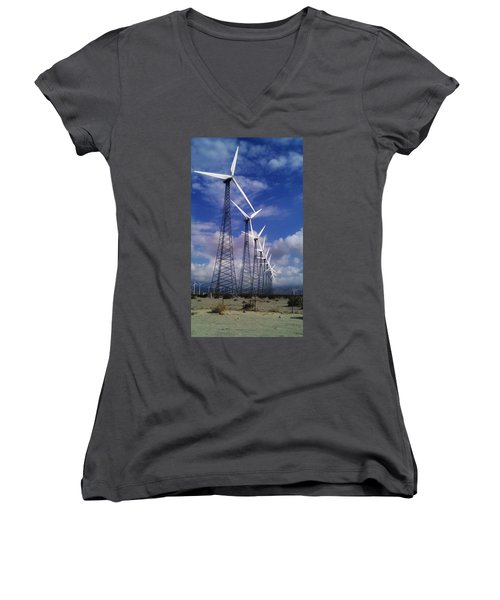 Women's V-Neck T-Shirt (Junior Cut) featuring the photograph Windmills by Chris Tarpening