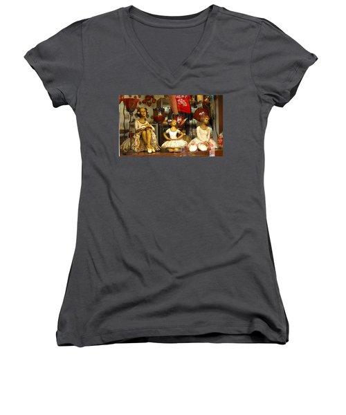 Women's V-Neck T-Shirt (Junior Cut) featuring the photograph Window Shopping by Leena Pekkalainen