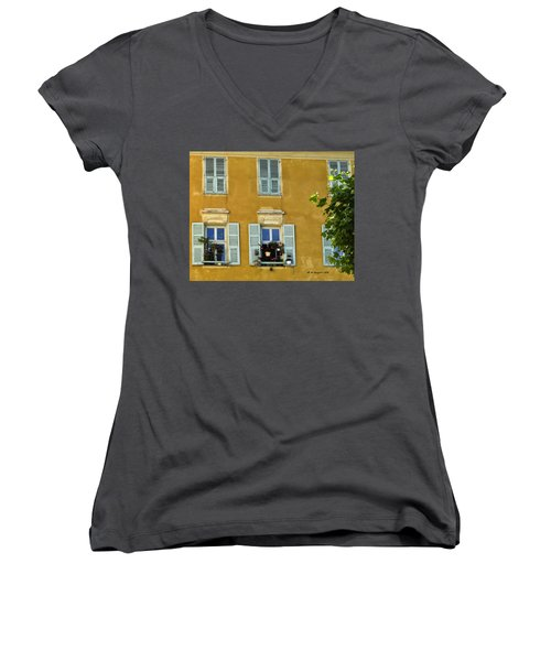 Women's V-Neck T-Shirt (Junior Cut) featuring the photograph Windowboxes In Nice France by Allen Sheffield