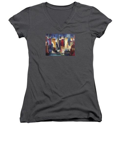 Windy City Nights Women's V-Neck T-Shirt (Junior Cut) by Kathleen Patrick