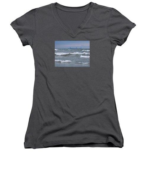 Windy City Skyline Women's V-Neck T-Shirt (Junior Cut) by Ann Horn