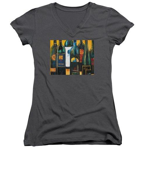 Wine Bar Women's V-Neck T-Shirt (Junior Cut) by Sheri  Chakamian