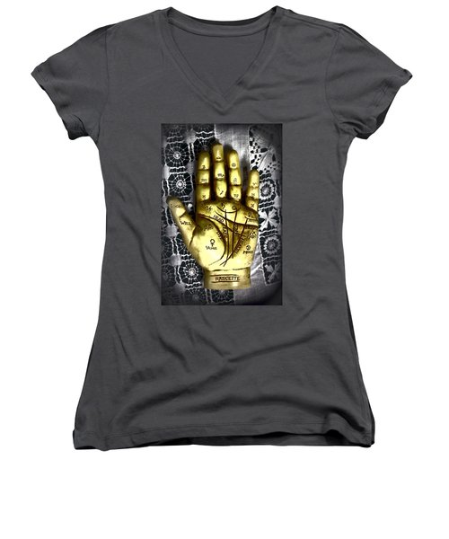 Winning Hand Women's V-Neck T-Shirt (Junior Cut) by Lynn Sprowl