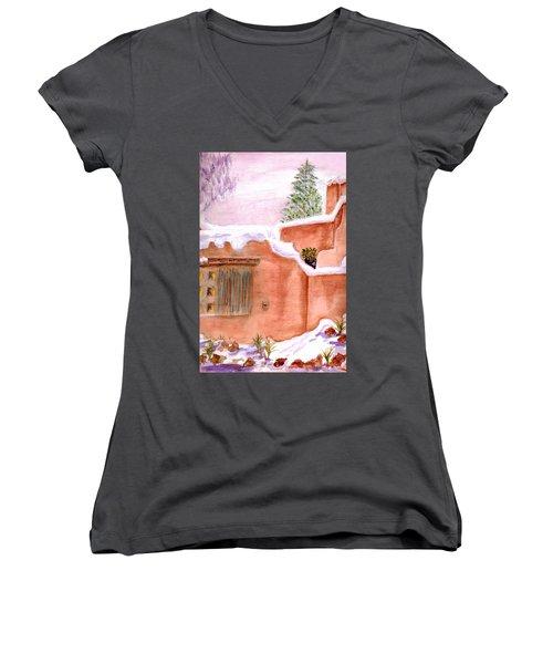 Winter Adobe Women's V-Neck T-Shirt (Junior Cut) by Paula Ayers