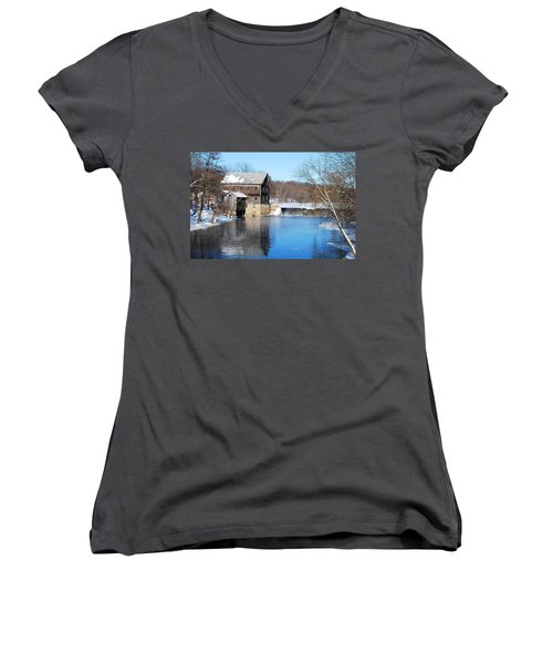 Winter Capture Of The Old Jaeger Rye Mill Women's V-Neck T-Shirt (Junior Cut) by Janice Adomeit