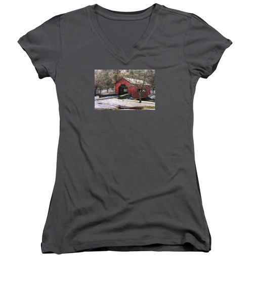 Winter Crossing In Elegance - Carroll Creek Covered Bridge - Baker Park Frederick Maryland Women's V-Neck T-Shirt