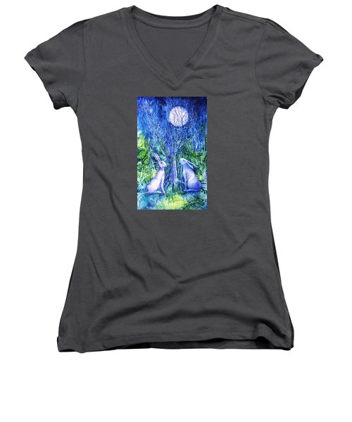 Winter Descends As Two Hares Contemplate An Owl By Moonlight Women's V-Neck T-Shirt