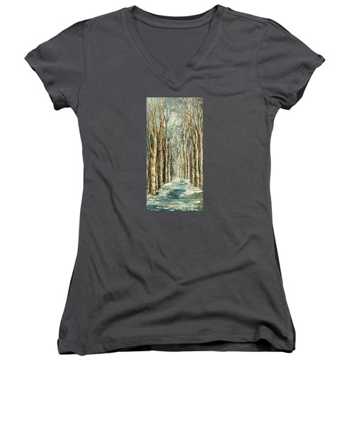 Winter Dreams Women's V-Neck T-Shirt (Junior Cut) by Tatiana Iliina