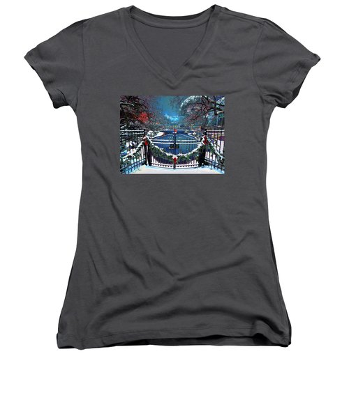 Women's V-Neck T-Shirt (Junior Cut) featuring the digital art Winter Garden by Michael Rucker