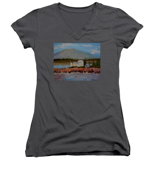 Women's V-Neck T-Shirt (Junior Cut) featuring the painting Winter Harbor Light by Francine Frank