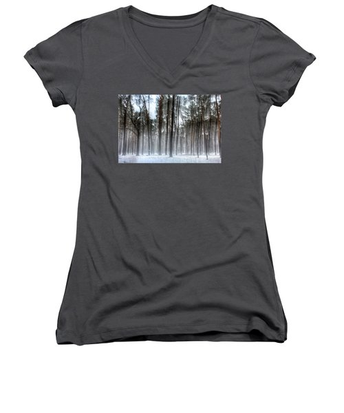 Winter Light In A Forest With Dancing Trees Women's V-Neck
