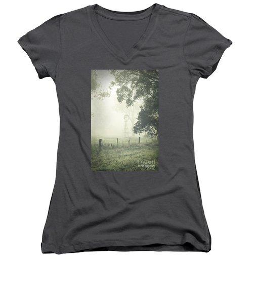 Winter Morning Londrigan 9 Women's V-Neck T-Shirt (Junior Cut) by Linda Lees