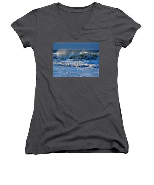 Winter Ocean At Nauset Light Beach Women's V-Neck T-Shirt (Junior Cut) by Dianne Cowen