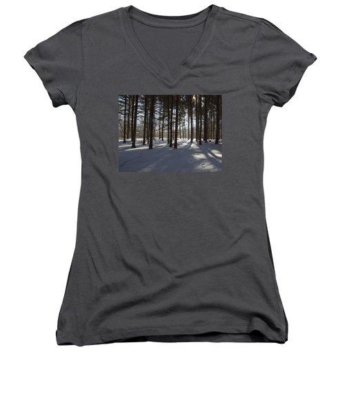 Women's V-Neck T-Shirt (Junior Cut) featuring the photograph Winter Pines by Daniel Sheldon