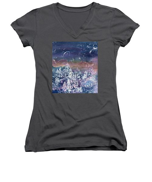 Women's V-Neck T-Shirt (Junior Cut) featuring the painting Winter Solstice  by Kathy Bassett