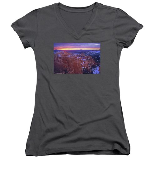 Winter Sunrise At Bryce Canyon Women's V-Neck