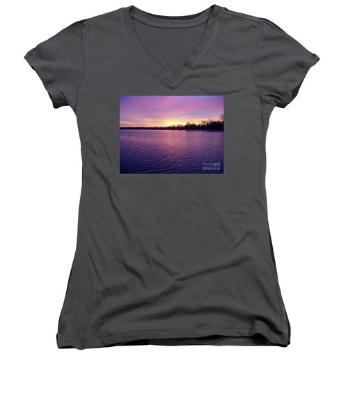 Women's V-Neck T-Shirt (Junior Cut) featuring the photograph Winter Sunrise by John Telfer