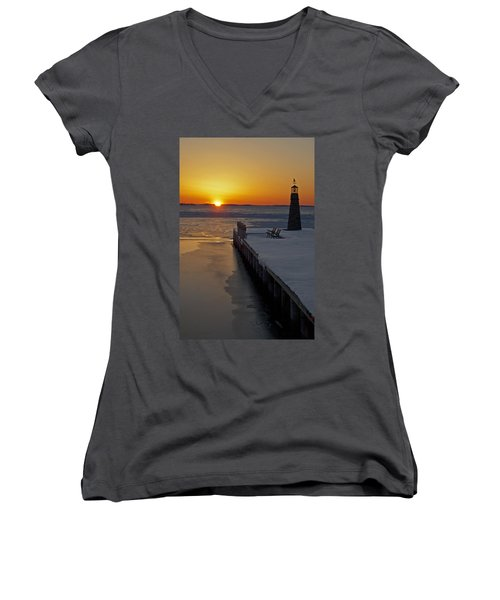 Women's V-Neck T-Shirt (Junior Cut) featuring the photograph Winter Sunset On Lake Winneconne by Judy  Johnson