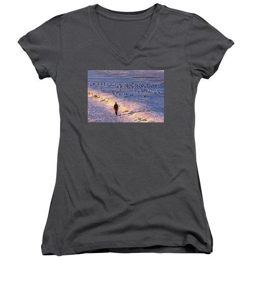 Women's V-Neck T-Shirt (Junior Cut) featuring the photograph Winter Time At The Beach by Cynthia Guinn
