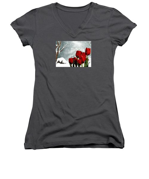Winter Tulips Women's V-Neck T-Shirt (Junior Cut) by Morag Bates