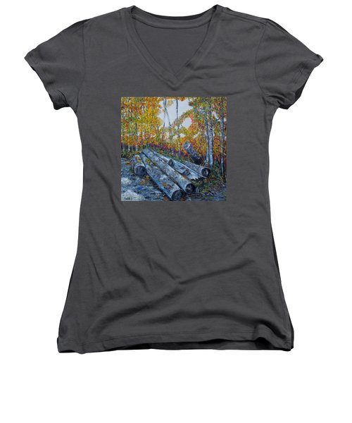 Women's V-Neck T-Shirt (Junior Cut) featuring the painting Winter's Firewood by Marilyn  McNish