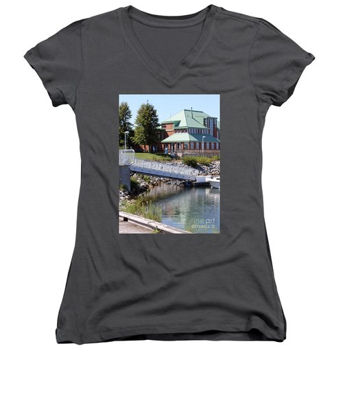 Women's V-Neck T-Shirt (Junior Cut) featuring the photograph Winthrop Harbor Shore by Debbie Hart
