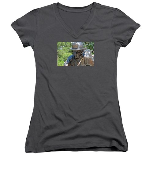 Women's V-Neck T-Shirt (Junior Cut) featuring the photograph Wisconsin State Firefighters Memorial 3  by Susan  McMenamin