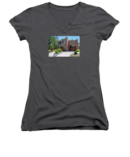 Women's V-Neck T-Shirt (Junior Cut) featuring the photograph Wisconsin State Firefighters Memorial 6 by Susan  McMenamin