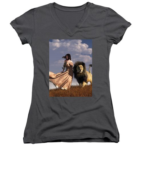 Woman With African Lion Women's V-Neck (Athletic Fit)