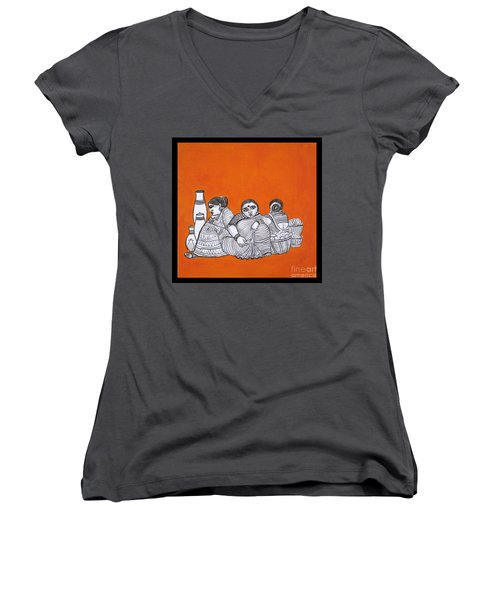 Women Vendors In Market Women's V-Neck