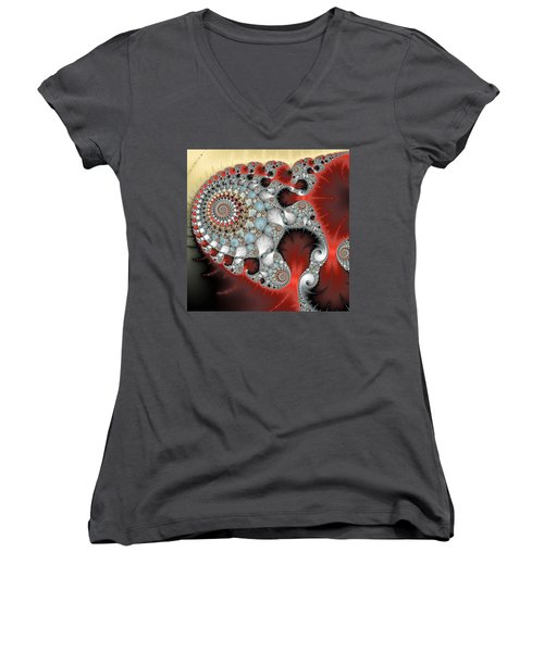 Wonderful Abstract Fractal Spirals Red Grey Yellow And Light Blue Women's V-Neck (Athletic Fit)