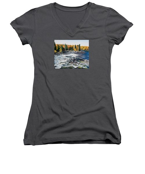 Wood Falls 2 Women's V-Neck T-Shirt (Junior Cut) by Marilyn  McNish