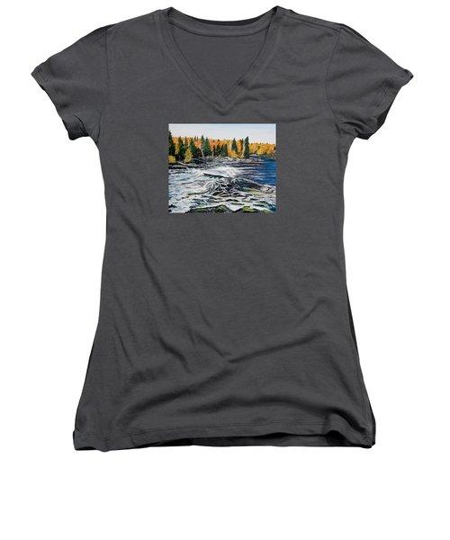 Wood Falls 2 Women's V-Neck T-Shirt (Junior Cut)