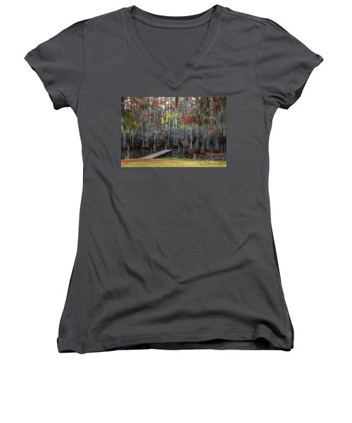 Wooden Dock On Autumn Swamp Women's V-Neck (Athletic Fit)
