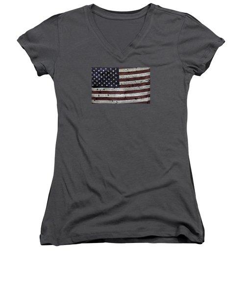 Wooden Textured Usa Flag3 Women's V-Neck T-Shirt (Junior Cut) by John Stephens