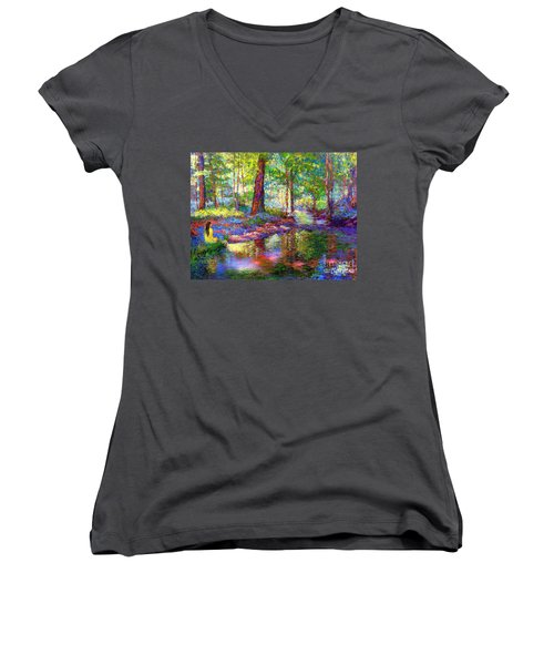 Woodland Rapture Women's V-Neck T-Shirt (Junior Cut) by Jane Small