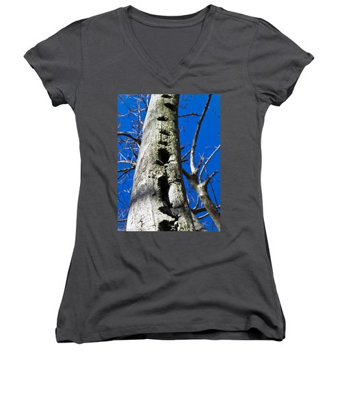Women's V-Neck T-Shirt (Junior Cut) featuring the photograph Woody's Paradise by Nick Kirby
