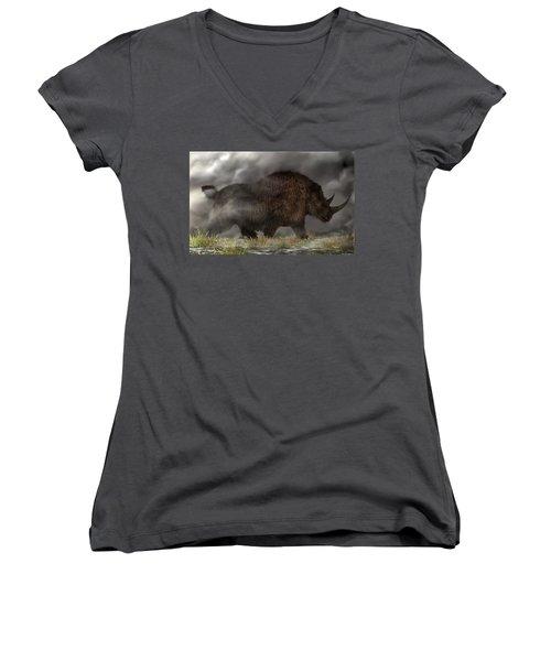 Woolly Rhinoceros Women's V-Neck