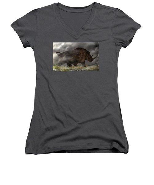 Woolly Rhinoceros Women's V-Neck (Athletic Fit)