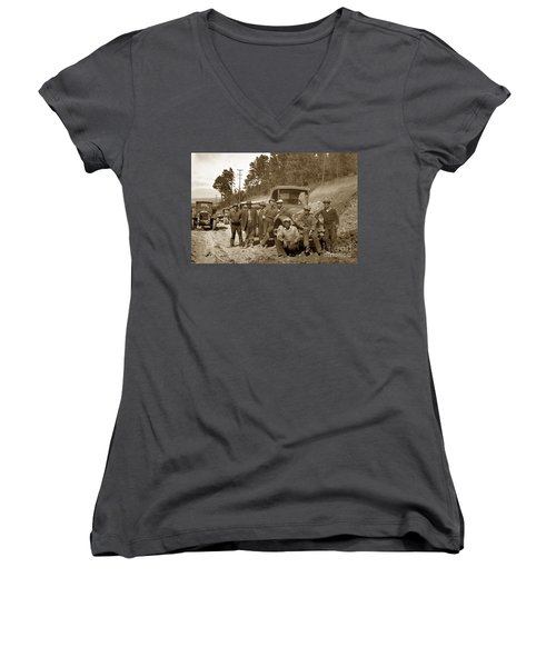 Workers On Highway One Monterey Carmel Hill California 1929 Women's V-Neck T-Shirt (Junior Cut) by California Views Mr Pat Hathaway Archives