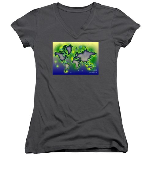 World Map Amuza In Blue Yellow And Green Women's V-Neck T-Shirt (Junior Cut) by Eleven Corners