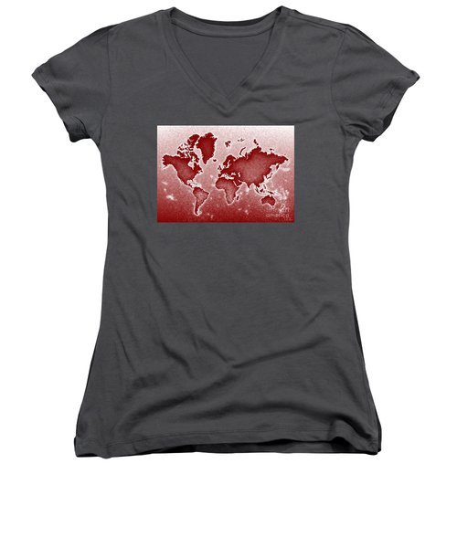 World Map Novo In Red Women's V-Neck T-Shirt (Junior Cut) by Eleven Corners