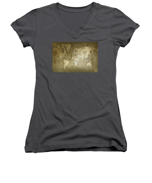 World Map Women's V-Neck (Athletic Fit)