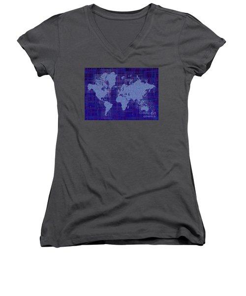 World Map Rettangoli In Blue And White Women's V-Neck T-Shirt (Junior Cut) by Eleven Corners