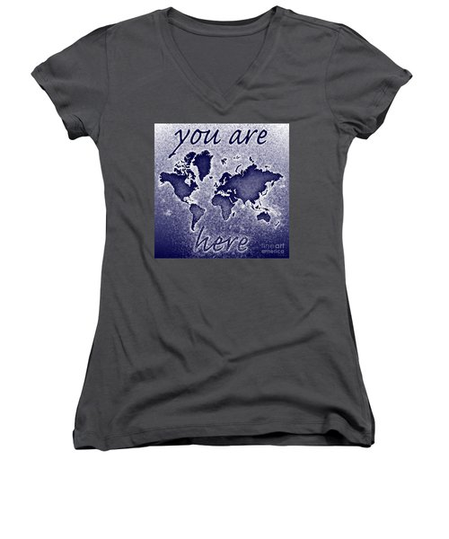 World Map You Are Here Novo In Blue Women's V-Neck T-Shirt (Junior Cut) by Eleven Corners