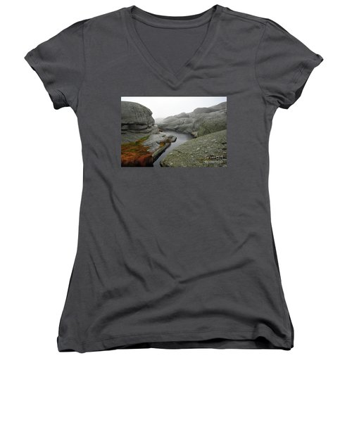 Women's V-Neck T-Shirt (Junior Cut) featuring the photograph World's End 1 by Randi Grace Nilsberg